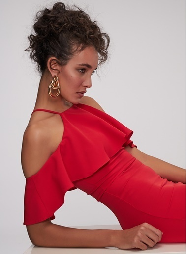 People By Fabrika Kayık Yaka Abiye Elbise Kırmızı